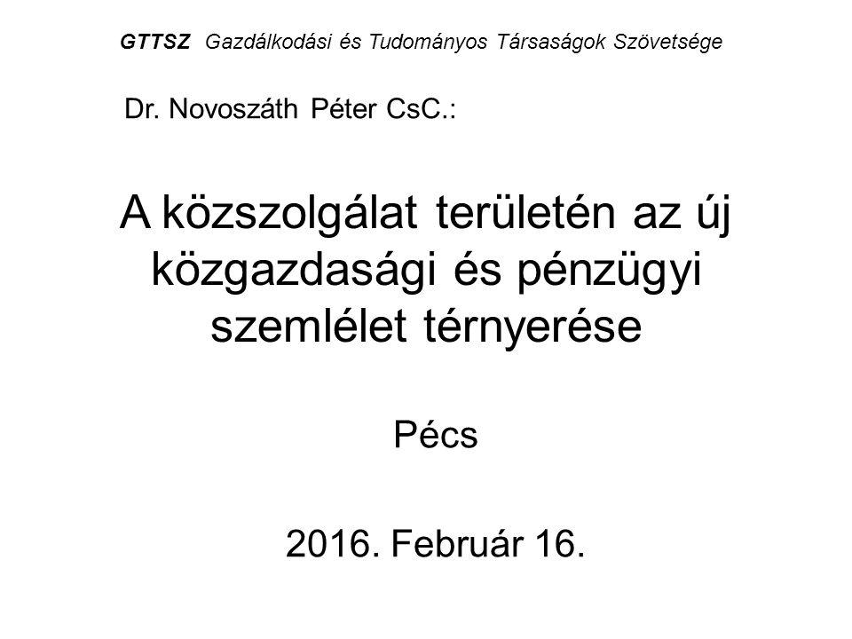 A közszolgálat területén az új közgazdasági és pénzügyi szemlélet térnyerése Pécs 2016. Február 16. Dr. Novoszáth Péter CsC.: GTTSZGazdálkodási és Tud
