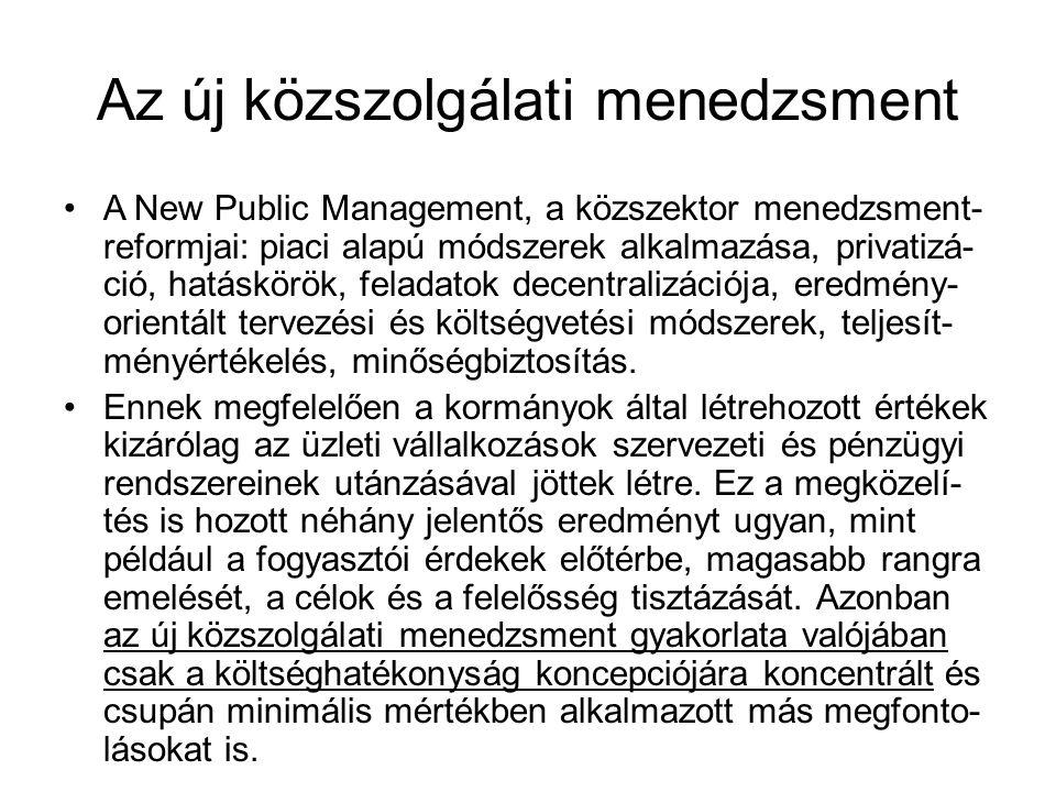 Az új közszolgálati menedzsment A New Public Management, a közszektor menedzsment- reformjai: piaci alapú módszerek alkalmazása, privatizá- ció, hatáskörök, feladatok decentralizációja, eredmény- orientált tervezési és költségvetési módszerek, teljesít- ményértékelés, minőségbiztosítás.