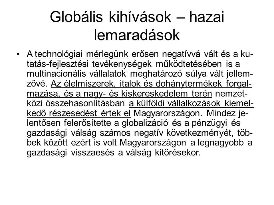 Globális kihívások – hazai lemaradások A technológiai mérlegünk erősen negatívvá vált és a ku- tatás-fejlesztési tevékenységek működtetésében is a multinacionális vállalatok meghatározó súlya vált jellem- zővé.