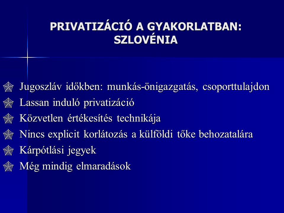 PRIVATIZÁCIÓ A GYAKORLATBAN: SZLOVÉNIA  Jugoszláv időkben: munkás-önigazgatás, csoporttulajdon  Lassan induló privatizáció  Közvetlen értékesítés technikája  Nincs explicit korlátozás a külföldi tőke behozatalára  Kárpótlási jegyek  Még mindig elmaradások