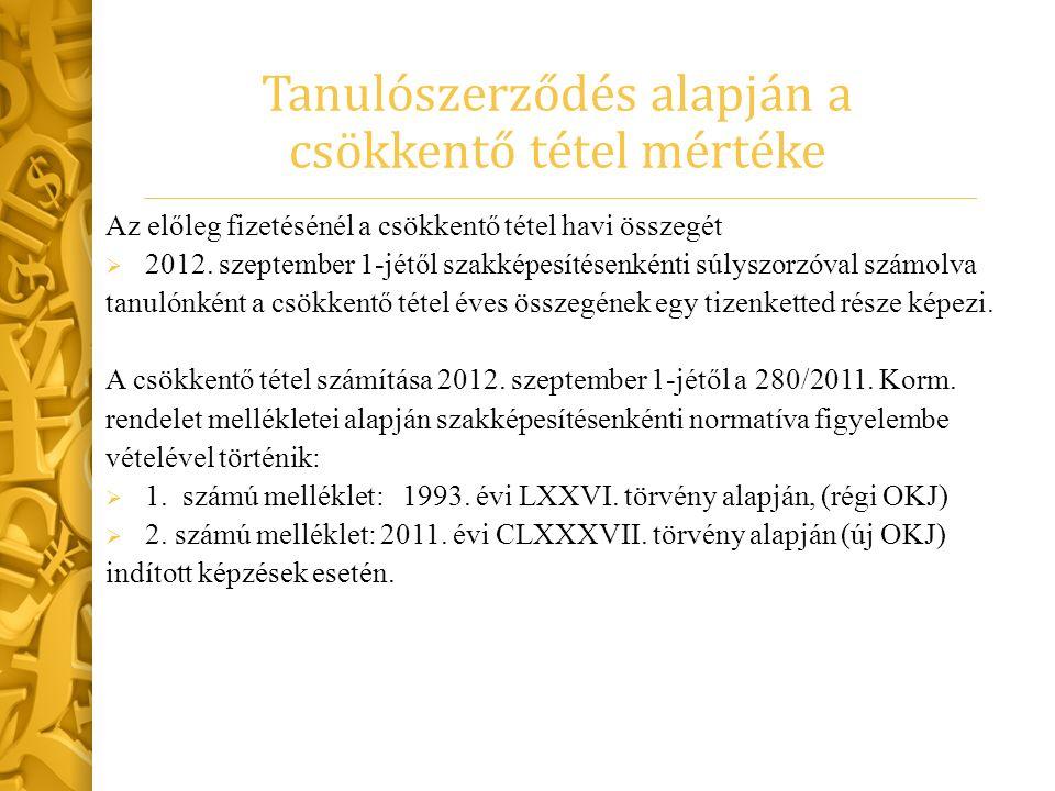 Tanulószerződés alapján a csökkentő tétel mértéke Az előleg fizetésénél a csökkentő tétel havi összegét  2012. szeptember 1-jétől szakképesítésenként
