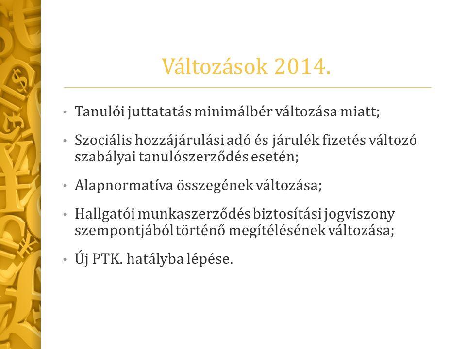 Változások 2014. Tanulói juttatatás minimálbér változása miatt; Szociális hozzájárulási adó és járulék fizetés változó szabályai tanulószerződés eseté