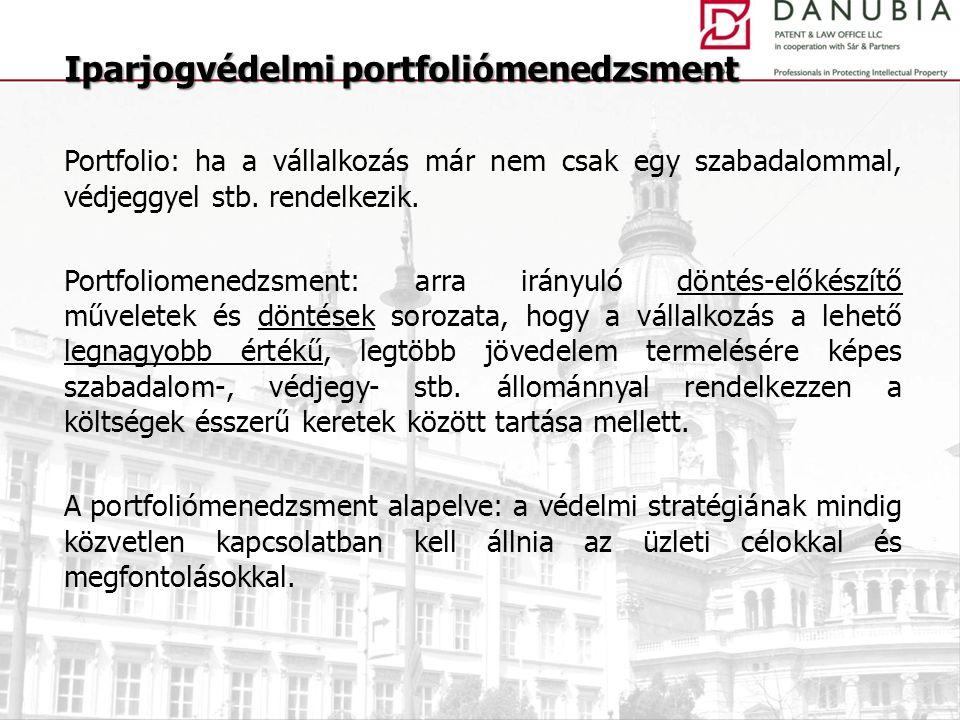Portfolio: ha a vállalkozás már nem csak egy szabadalommal, védjeggyel stb. rendelkezik. Portfoliomenedzsment: arra irányuló döntés-előkészítő művelet
