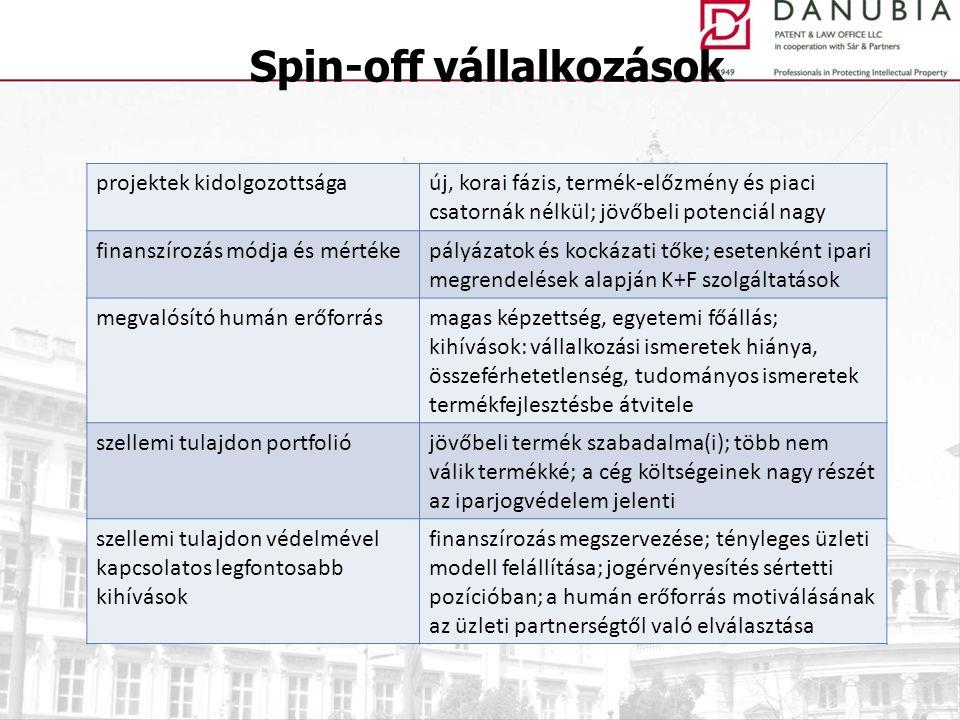 Spin-off vállalkozások projektek kidolgozottságaúj, korai fázis, termék-előzmény és piaci csatornák nélkül; jövőbeli potenciál nagy finanszírozás módj