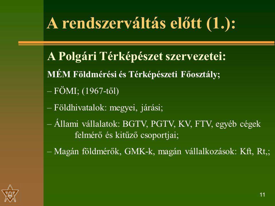 11 A rendszerváltás előtt (1.): A Polgári Térképészet szervezetei: MÉM Földmérési és Térképészeti Főosztály; – FÖMI; (1967-től) – Földhivatalok: megyei, járási; – Állami vállalatok: BGTV, PGTV, KV, FTV, egyéb cégek felmérő és kitűző csoportjai; – Magán földmérők, GMK-k, magán vállalkozások: Kft, Rt,;