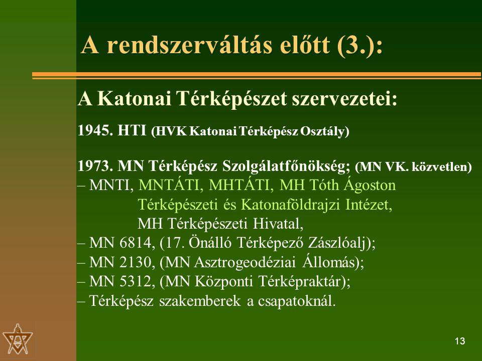13 A rendszerváltás előtt (3.): A Katonai Térképészet szervezetei: 1945.