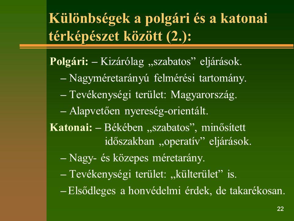 """22 Különbségek a polgári és a katonai térképészet között (2.): Polgári: – Kizárólag """"szabatos eljárások."""
