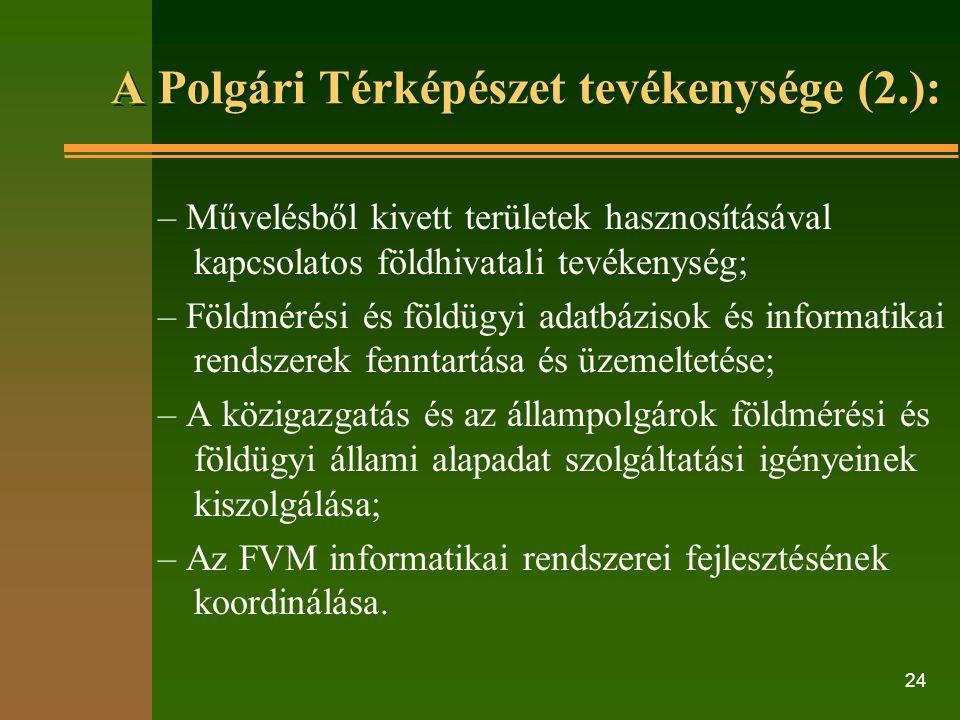 24 A Polgári Térképészet tevékenysége (2.): – Művelésből kivett területek hasznosításával kapcsolatos földhivatali tevékenység; – Földmérési és földügyi adatbázisok és informatikai rendszerek fenntartása és üzemeltetése; – A közigazgatás és az állampolgárok földmérési és földügyi állami alapadat szolgáltatási igényeinek kiszolgálása; – Az FVM informatikai rendszerei fejlesztésének koordinálása.