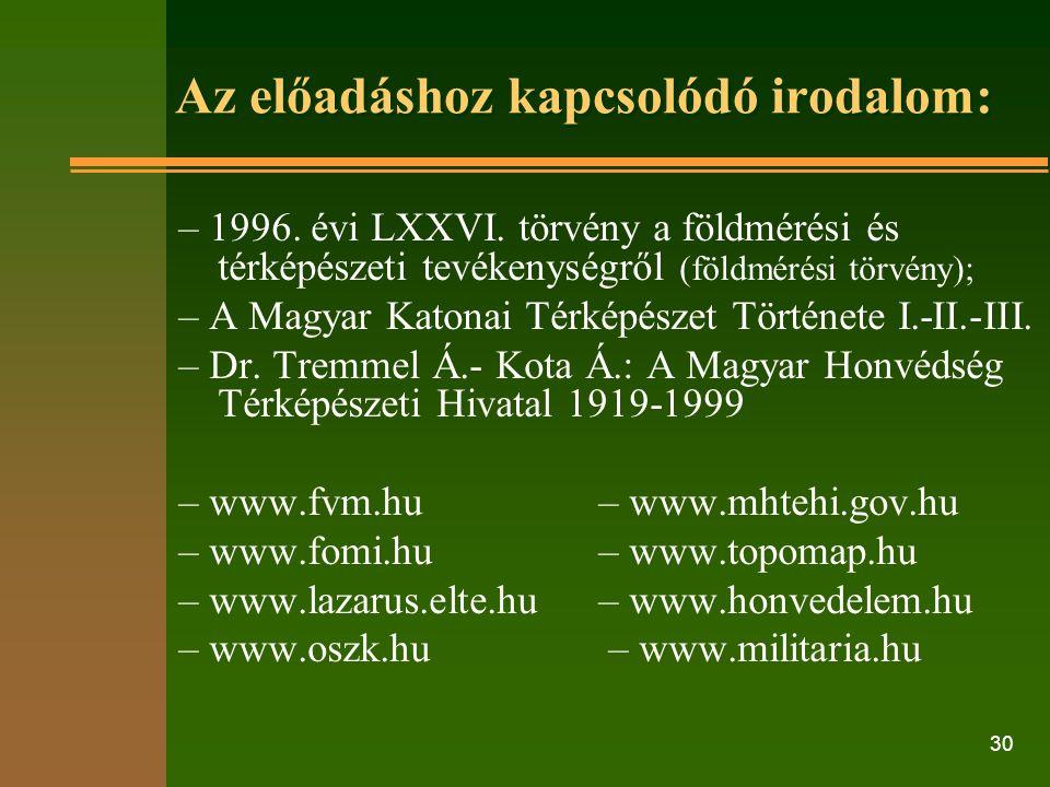 30 Az előadáshoz kapcsolódó irodalom: – 1996. évi LXXVI.