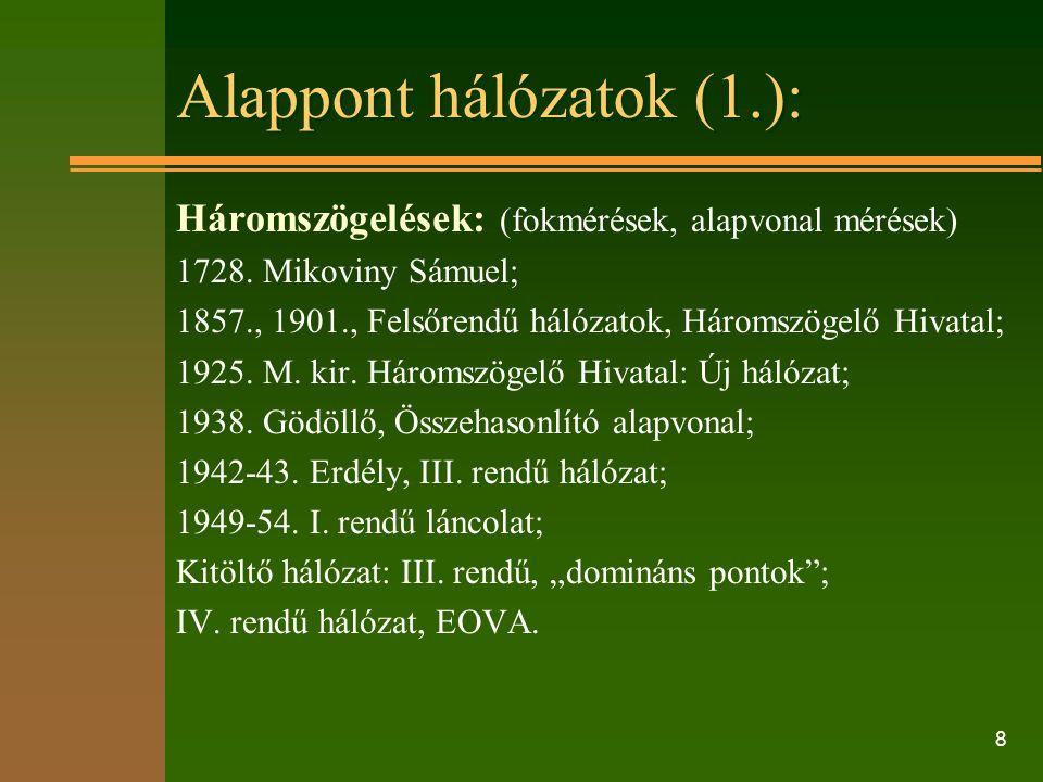 8 Alappont hálózatok (1.): Háromszögelések: (fokmérések, alapvonal mérések) 1728.