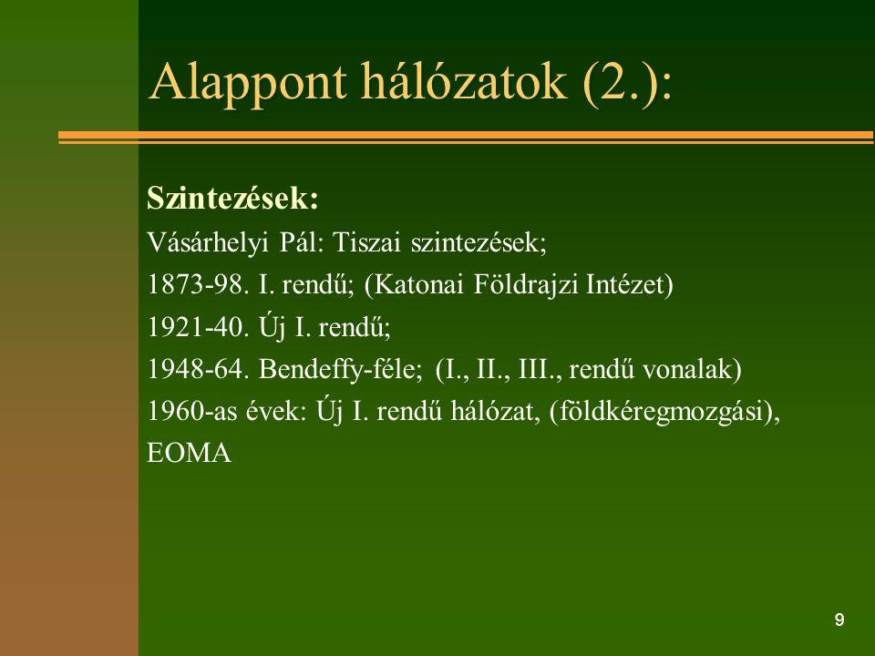 9 Alappont hálózatok (2.): Szintezések: Vásárhelyi Pál: Tiszai szintezések; 1873-98.