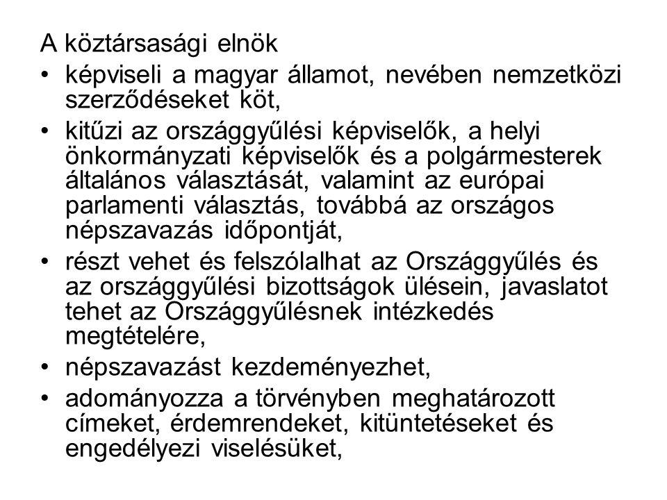 A köztársasági elnök képviseli a magyar államot, nevében nemzetközi szerződéseket köt, kitűzi az országgyűlési képviselők, a helyi önkormányzati képviselők és a polgármesterek általános választását, valamint az európai parlamenti választás, továbbá az országos népszavazás időpontját, részt vehet és felszólalhat az Országgyűlés és az országgyűlési bizottságok ülésein, javaslatot tehet az Országgyűlésnek intézkedés megtételére, népszavazást kezdeményezhet, adományozza a törvényben meghatározott címeket, érdemrendeket, kitüntetéseket és engedélyezi viselésüket,