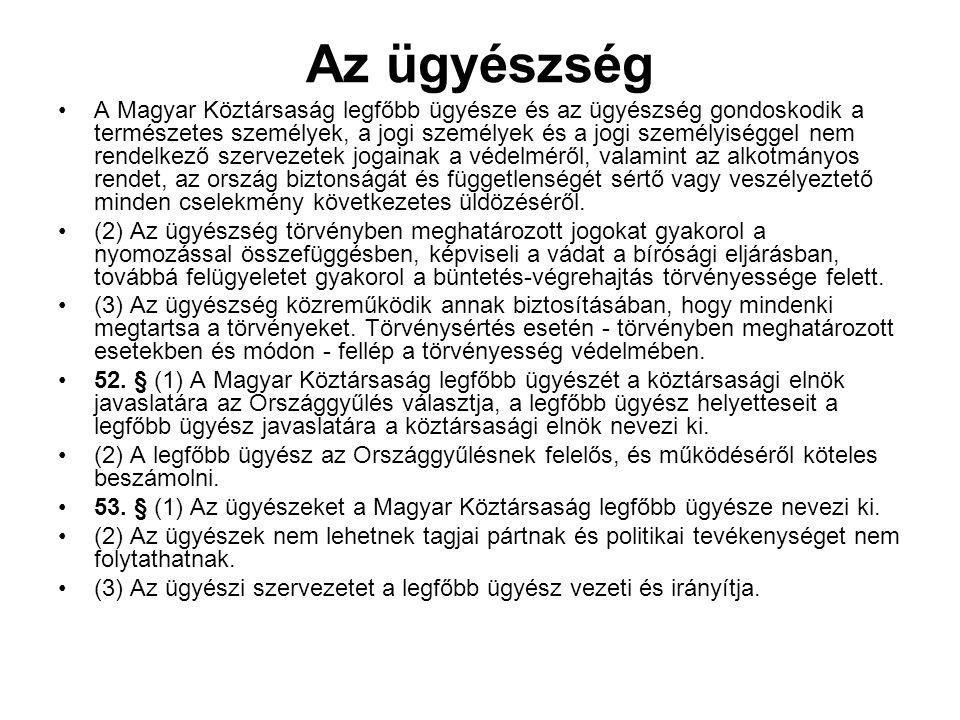 Az ügyészség A Magyar Köztársaság legfőbb ügyésze és az ügyészség gondoskodik a természetes személyek, a jogi személyek és a jogi személyiséggel nem rendelkező szervezetek jogainak a védelméről, valamint az alkotmányos rendet, az ország biztonságát és függetlenségét sértő vagy veszélyeztető minden cselekmény következetes üldözéséről.