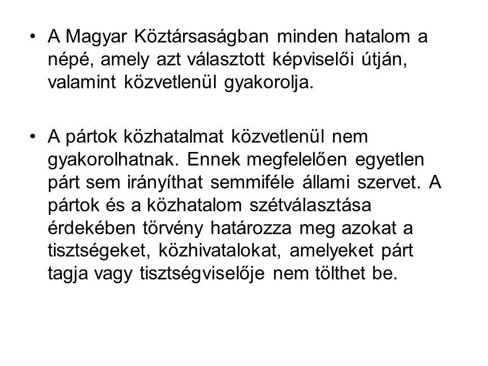 A Magyar Köztársaságban minden hatalom a népé, amely azt választott képviselői útján, valamint közvetlenül gyakorolja.