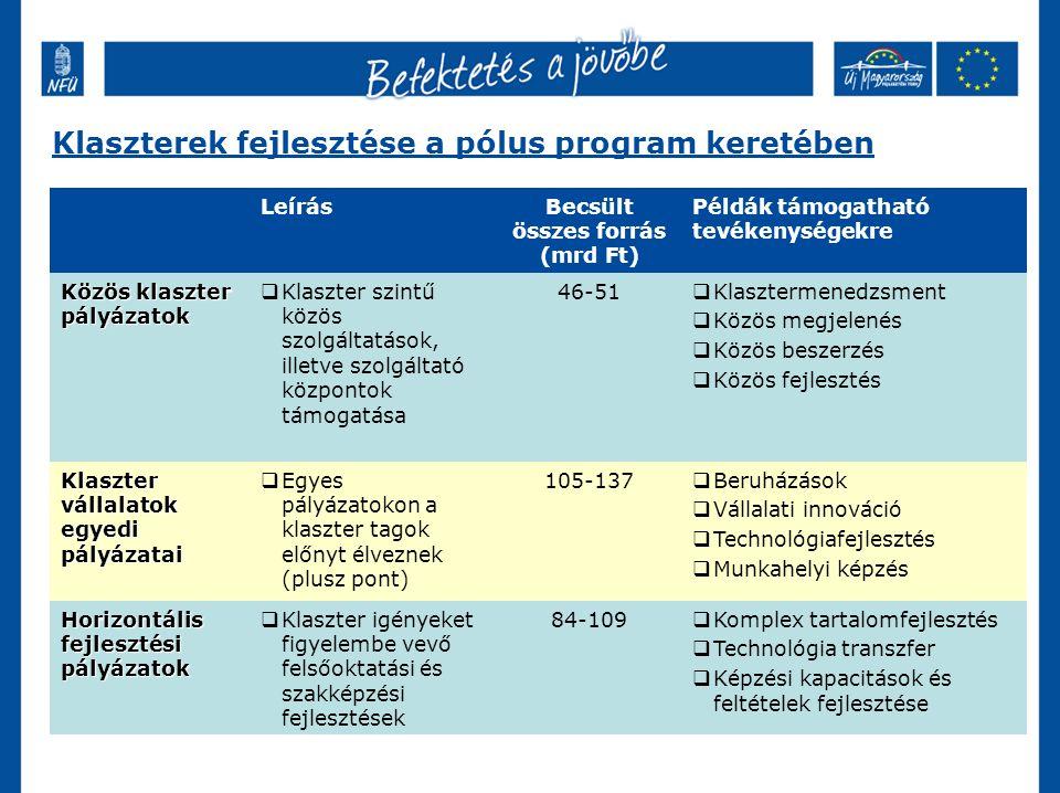 Klaszterek fejlesztése a pólus program keretében LeírásBecsült összes forrás (mrd Ft) Példák támogatható tevékenységekre Közös klaszter pályázatok  Klaszter szintű közös szolgáltatások, illetve szolgáltató központok támogatása 46-51  Klasztermenedzsment  Közös megjelenés  Közös beszerzés  Közös fejlesztés Klaszter vállalatok egyedi pályázatai  Egyes pályázatokon a klaszter tagok előnyt élveznek (plusz pont) 105-137  Beruházások  Vállalati innováció  Technológiafejlesztés  Munkahelyi képzés Horizontális fejlesztési pályázatok  Klaszter igényeket figyelembe vevő felsőoktatási és szakképzési fejlesztések 84-109  Komplex tartalomfejlesztés  Technológia transzfer  Képzési kapacitások és feltételek fejlesztése
