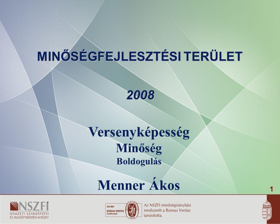 1 MINŐSÉGFEJLESZTÉSI TERÜLET 2008 Versenyképesség Minőség Boldogulás Menner Ákos