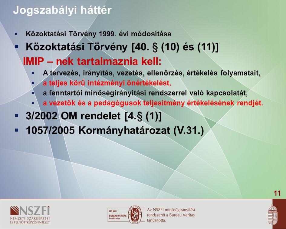 11 Jogszabályi háttér  Közoktatási Törvény 1999. évi módosítása  Közoktatási Törvény [40.