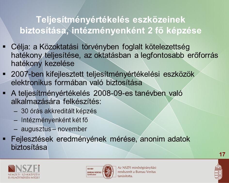 17 Teljesítményértékelés eszközeinek biztosítása, intézményenként 2 fő képzése  Célja: a Közoktatási törvényben foglalt kötelezettség hatékony teljesítése, az oktatásban a legfontosabb erőforrás hatékony kezelése  2007-ben kifejlesztett teljesítményértékelési eszközök elektronikus formában való biztosítása  A teljesítményértékelés 2008-09-es tanévben való alkalmazására felkészítés: – 30 órás akkreditált képzés – Intézményenként két fő – augusztus – november  Fejlesztések eredményének mérése, anonim adatok biztosítása