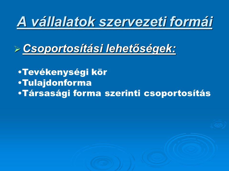 A vállalatok szervezeti formái  Csoportosítási lehetőségek: Tevékenységi kör Tulajdonforma Társasági forma szerinti csoportosítás