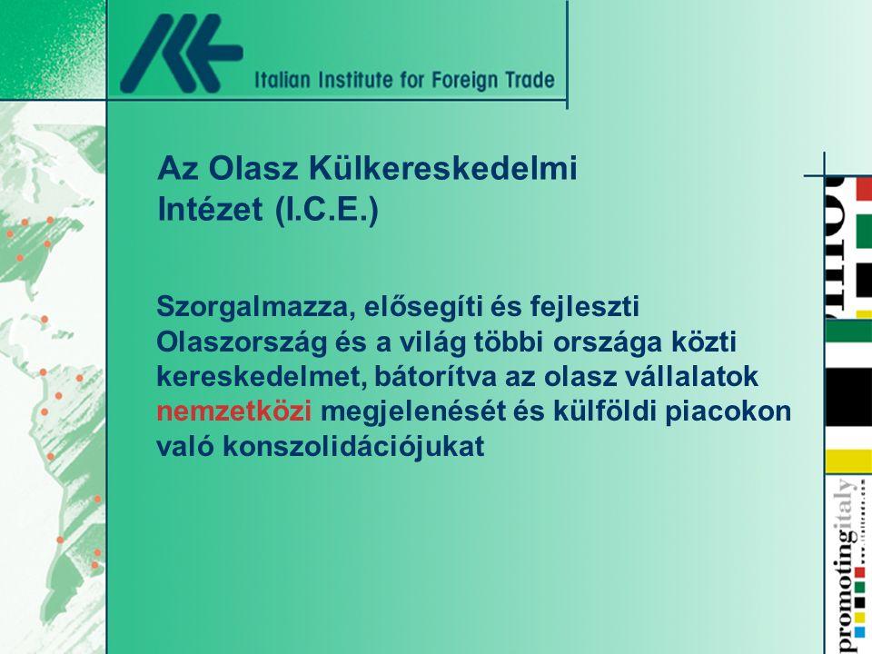 Szorgalmazza, elősegíti és fejleszti Olaszország és a világ többi országa közti kereskedelmet, bátorítva az olasz vállalatok nemzetközi megjelenését és külföldi piacokon való konszolidációjukat Az Olasz Külkereskedelmi Intézet (I.C.E.)