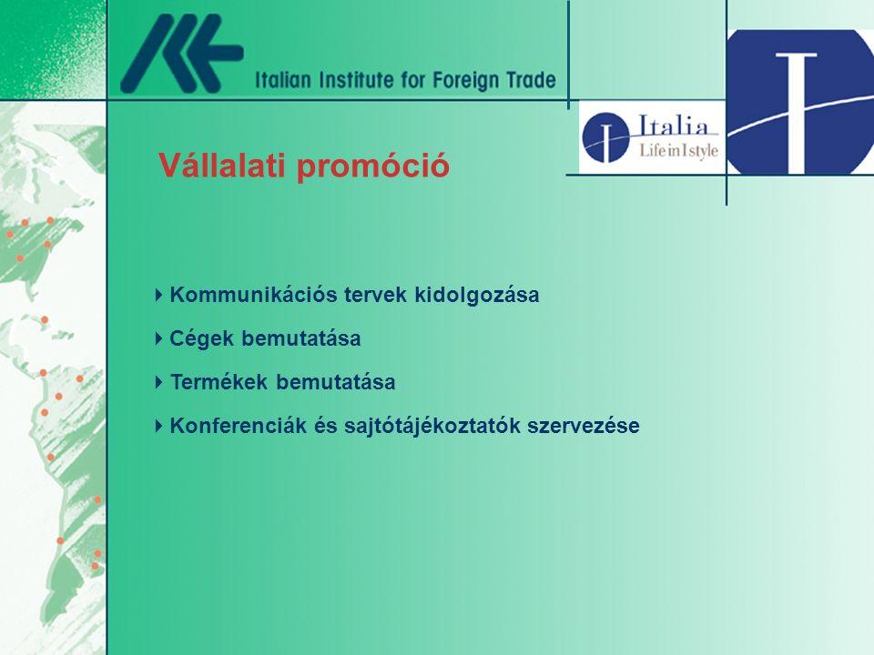 Vállalati promóció  Kommunikációs tervek kidolgozása  Cégek bemutatása  Termékek bemutatása  Konferenciák és sajtótájékoztatók szervezése