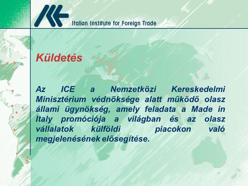 Küldetés Az ICE a Nemzetközi Kereskedelmi Minisztérium védnöksége alatt működő olasz állami ügynökség, amely feladata a Made in Italy promóciója a világban és az olasz vállalatok külföldi piacokon való megjelenésének elősegítése.