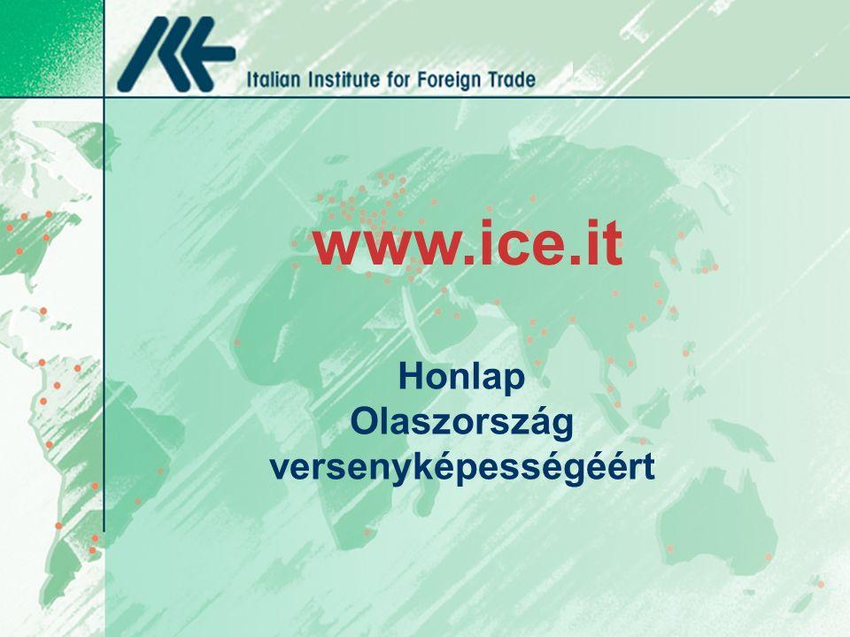 Honlap Olaszország versenyképességéért www.ice.it