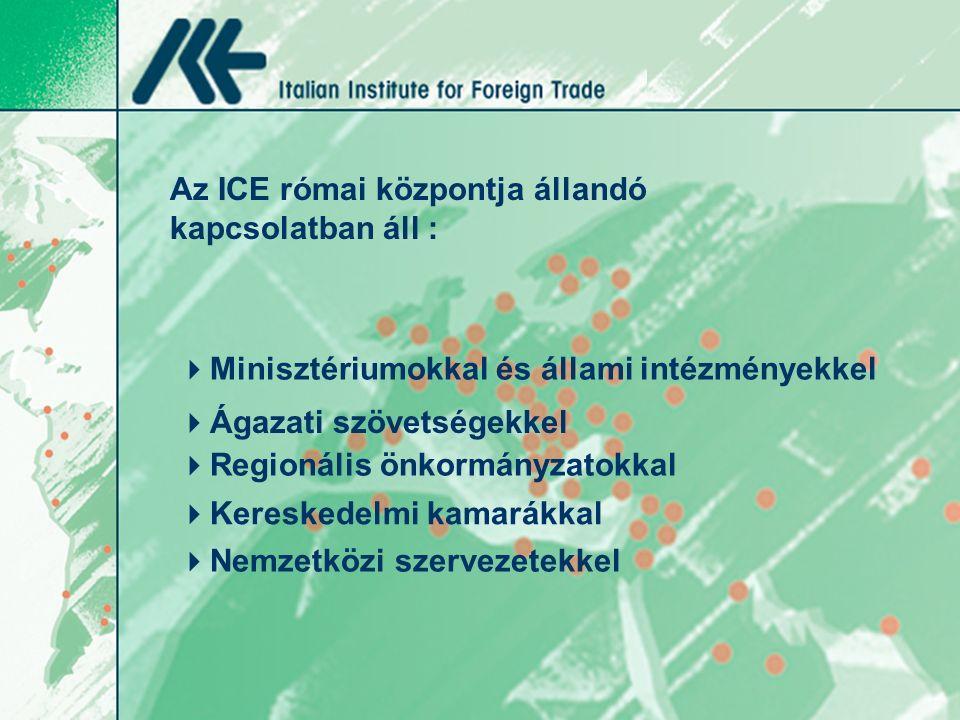 Az ICE római központja állandó kapcsolatban áll :  Minisztériumokkal és állami intézményekkel  Ágazati szövetségekkel  Regionális önkormányzatokkal  Nemzetközi szervezetekkel  Kereskedelmi kamarákkal