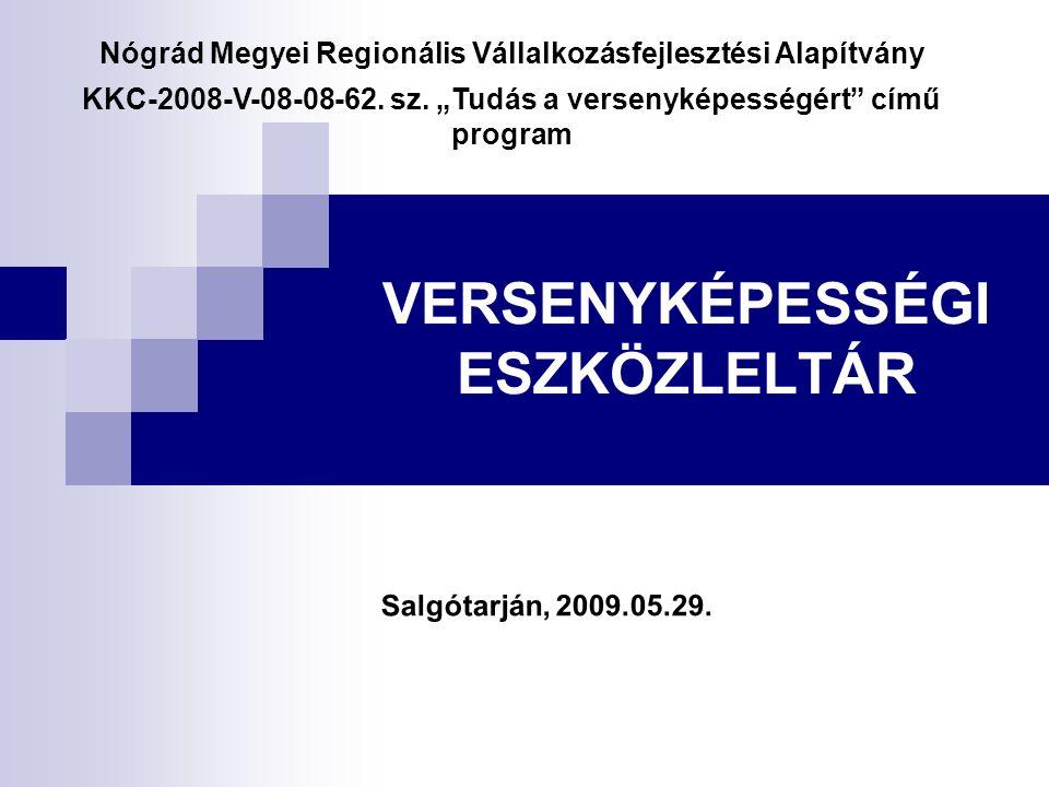 VERSENYKÉPESSÉGI ESZKÖZLELTÁR Nógrád Megyei Regionális Vállalkozásfejlesztési Alapítvány KKC-2008-V-08-08-62.