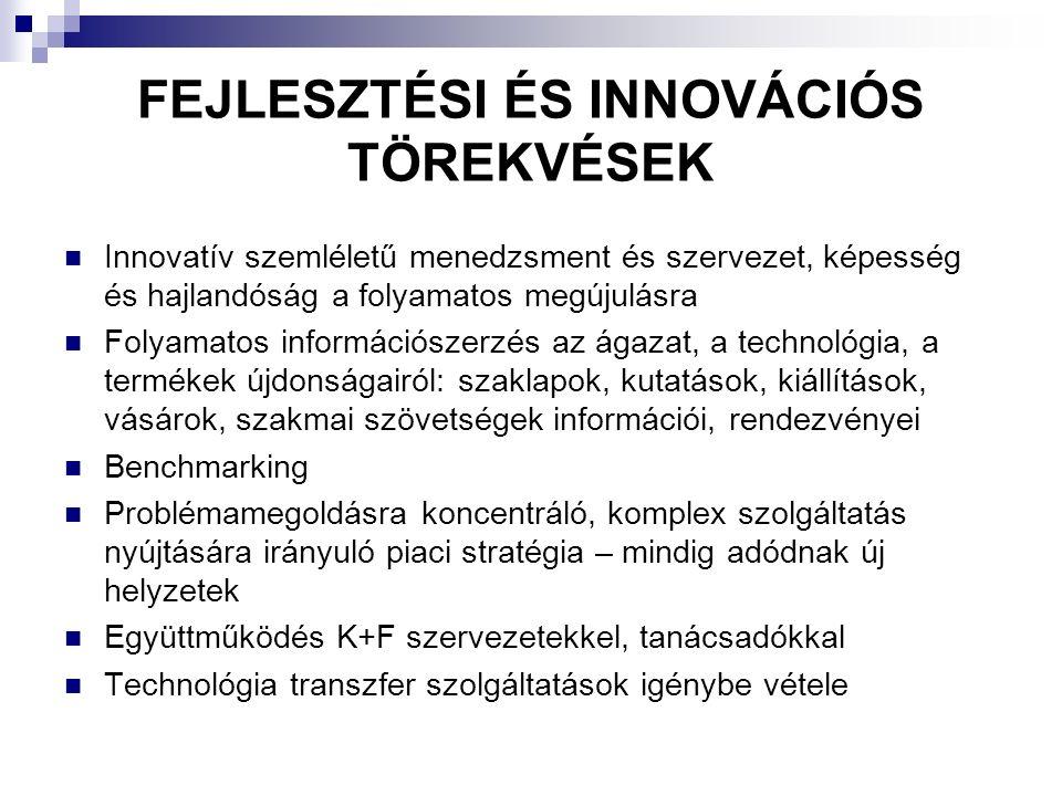 FEJLESZTÉSI ÉS INNOVÁCIÓS TÖREKVÉSEK Innovatív szemléletű menedzsment és szervezet, képesség és hajlandóság a folyamatos megújulásra Folyamatos információszerzés az ágazat, a technológia, a termékek újdonságairól: szaklapok, kutatások, kiállítások, vásárok, szakmai szövetségek információi, rendezvényei Benchmarking Problémamegoldásra koncentráló, komplex szolgáltatás nyújtására irányuló piaci stratégia – mindig adódnak új helyzetek Együttműködés K+F szervezetekkel, tanácsadókkal Technológia transzfer szolgáltatások igénybe vétele