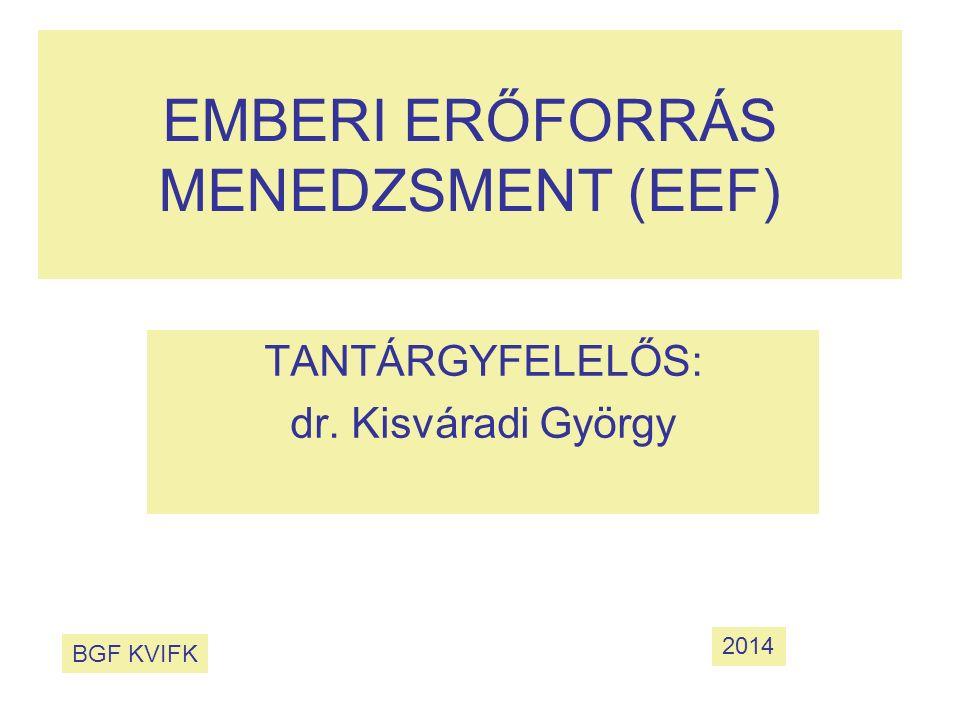 EMBERI ERŐFORRÁS MENEDZSMENT (EEF) TANTÁRGYFELELŐS: dr. Kisváradi György BGF KVIFK 2014