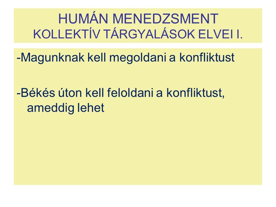 HUMÁN MENEDZSMENT KOLLEKTÍV TÁRGYALÁSOK ELVEI I.