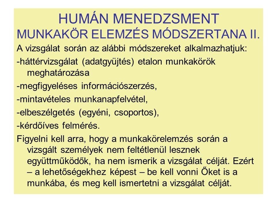HUMÁN MENEDZSMENT MUNKAKÖR ELEMZÉS MÓDSZERTANA II. A vizsgálat során az alábbi módszereket alkalmazhatjuk: -háttérvizsgálat (adatgyüjtés) etalon munka