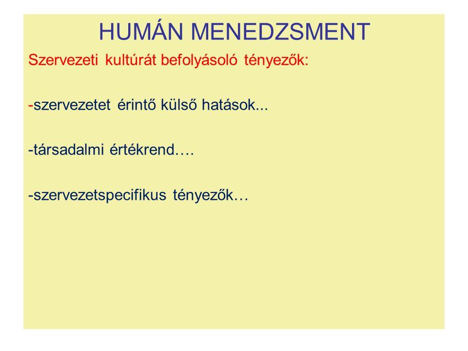 HUMÁN MENEDZSMENT Szervezeti kultúrát befolyásoló tényezők: -szervezetet érintő külső hatások... -társadalmi értékrend…. -szervezetspecifikus tényezők