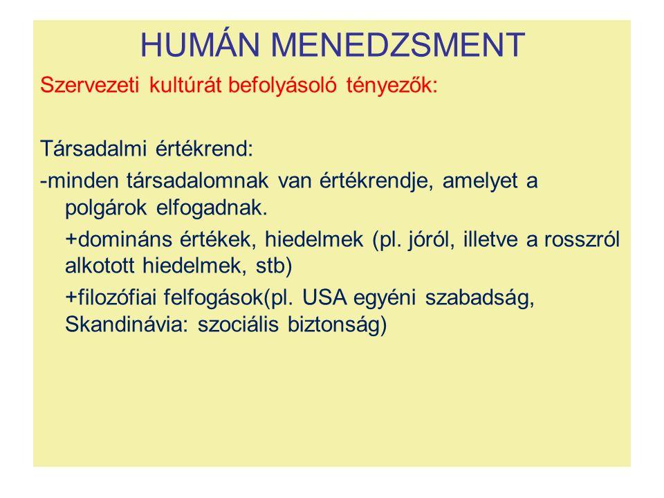 HUMÁN MENEDZSMENT Szervezeti kultúrát befolyásoló tényezők: Társadalmi értékrend: -minden társadalomnak van értékrendje, amelyet a polgárok elfogadnak