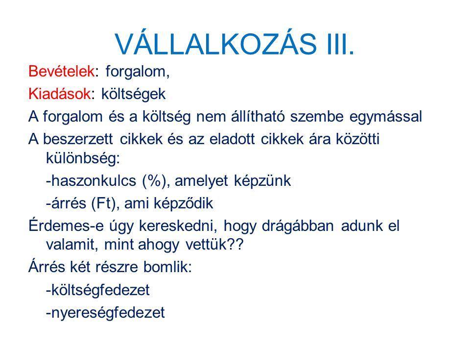 VÁLLALKOZÁS III.
