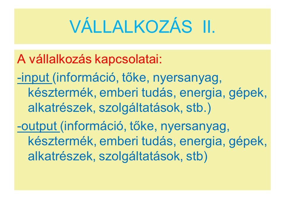 VÁLLALKOZÁS II.