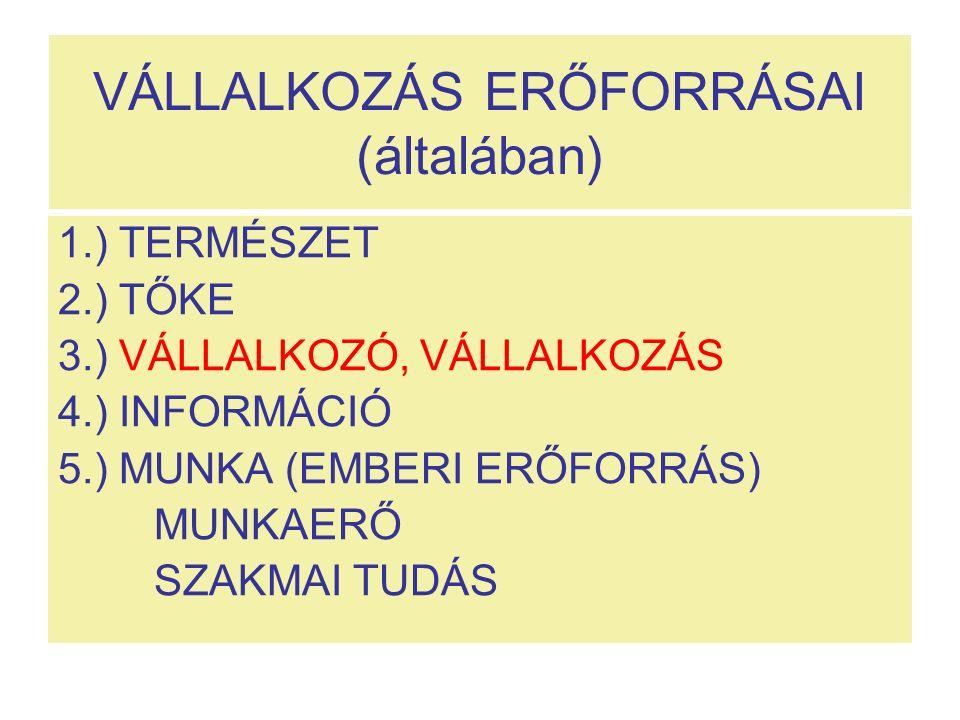 VÁLLALKOZÁS ERŐFORRÁSAI (általában) 1.) TERMÉSZET 2.) TŐKE 3.) VÁLLALKOZÓ, VÁLLALKOZÁS 4.) INFORMÁCIÓ 5.) MUNKA (EMBERI ERŐFORRÁS) MUNKAERŐ SZAKMAI TUDÁS