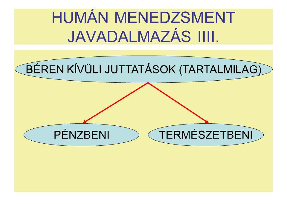 HUMÁN MENEDZSMENT JAVADALMAZÁS IIII. BÉREN KÍVÜLI JUTTATÁSOK (TARTALMILAG) PÉNZBENI TERMÉSZETBENI