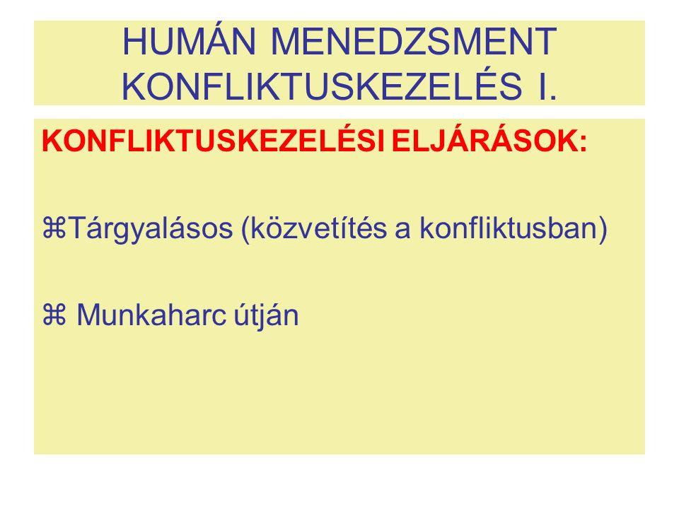 HUMÁN MENEDZSMENT KONFLIKTUSKEZELÉS I. KONFLIKTUSKEZELÉSI ELJÁRÁSOK:  Tárgyalásos (közvetítés a konfliktusban)  Munkaharc útján