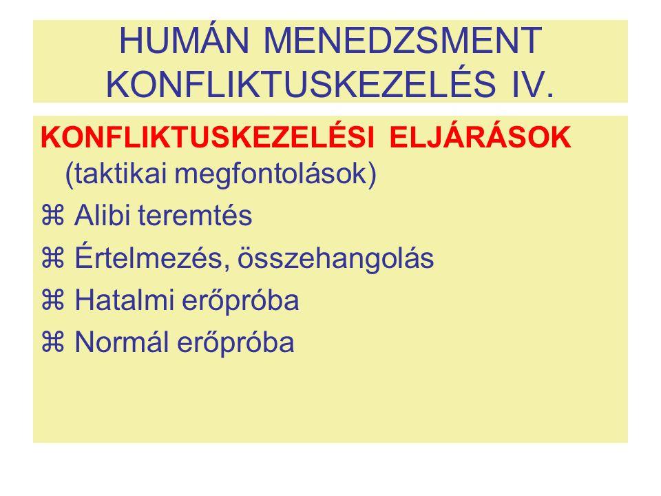 HUMÁN MENEDZSMENT KONFLIKTUSKEZELÉS IV.