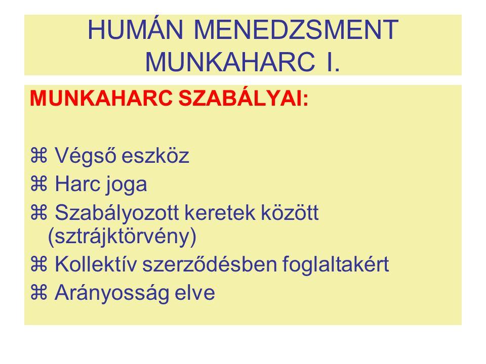 HUMÁN MENEDZSMENT MUNKAHARC I. MUNKAHARC SZABÁLYAI:  Végső eszköz  Harc joga  Szabályozott keretek között (sztrájktörvény)  Kollektív szerződésben