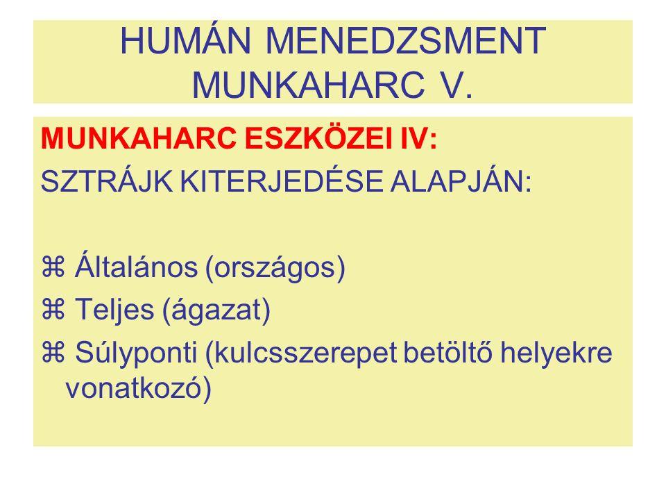 HUMÁN MENEDZSMENT MUNKAHARC V. MUNKAHARC ESZKÖZEI IV: SZTRÁJK KITERJEDÉSE ALAPJÁN:  Általános (országos)  Teljes (ágazat)  Súlyponti (kulcsszerepet