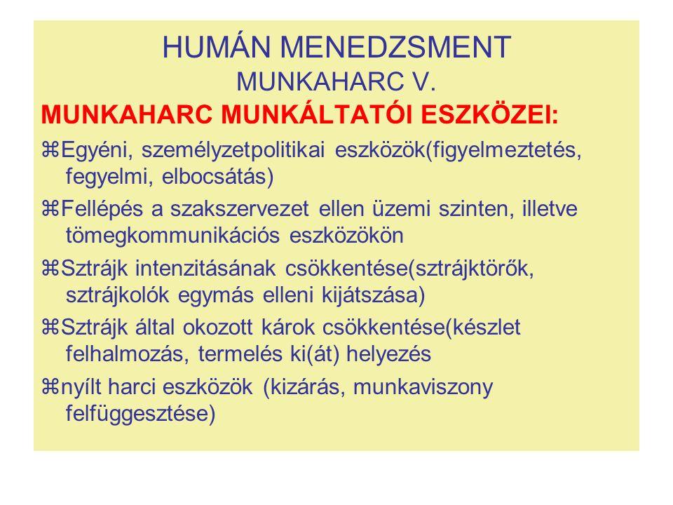 HUMÁN MENEDZSMENT MUNKAHARC V. MUNKAHARC MUNKÁLTATÓI ESZKÖZEI:  Egyéni, személyzetpolitikai eszközök(figyelmeztetés, fegyelmi, elbocsátás)  Fellépés