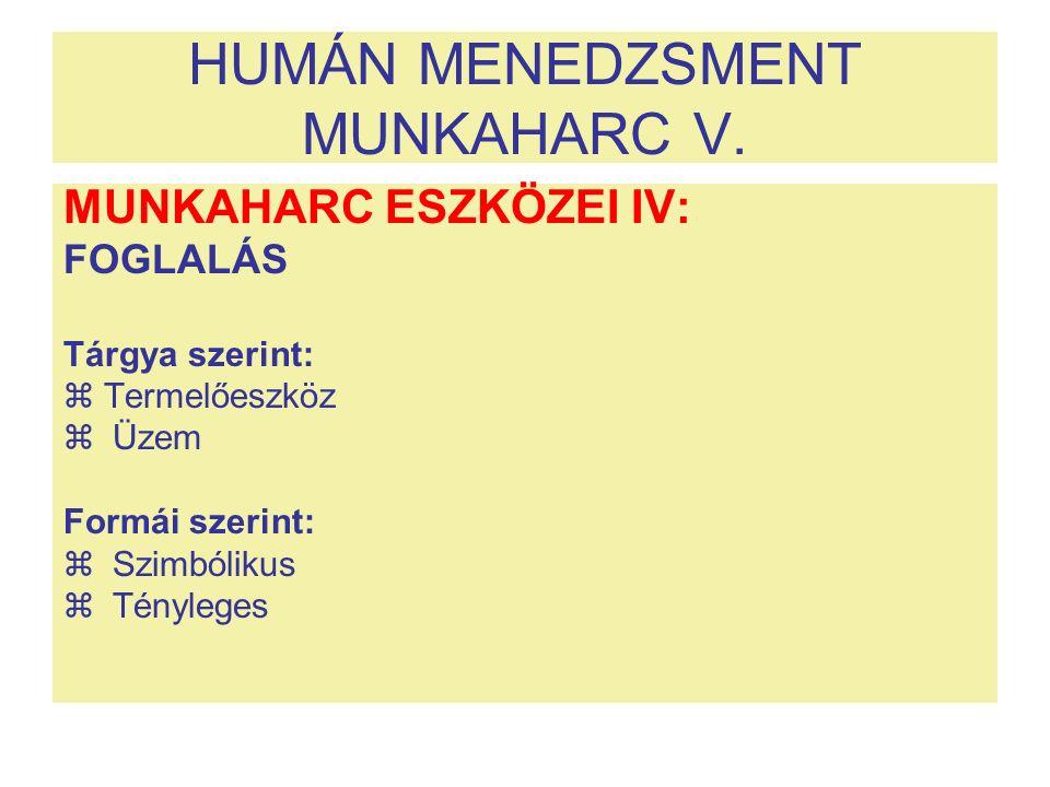 HUMÁN MENEDZSMENT MUNKAHARC V. MUNKAHARC ESZKÖZEI IV: FOGLALÁS Tárgya szerint:  Termelőeszköz  Üzem Formái szerint:  Szimbólikus  Tényleges