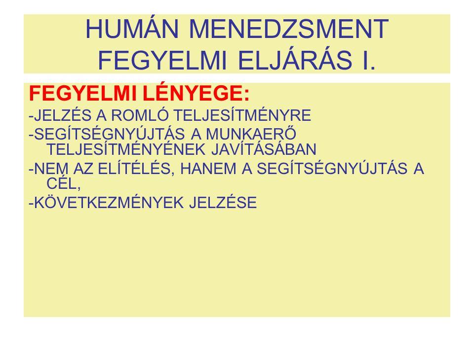 HUMÁN MENEDZSMENT FEGYELMI ELJÁRÁS I.