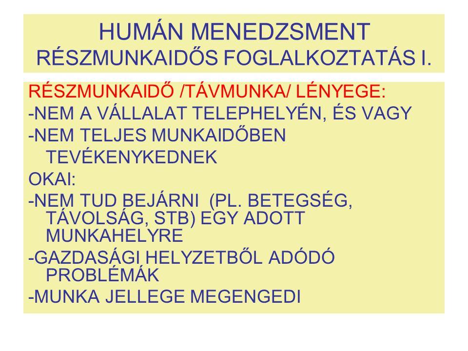 HUMÁN MENEDZSMENT RÉSZMUNKAIDŐS FOGLALKOZTATÁS I.