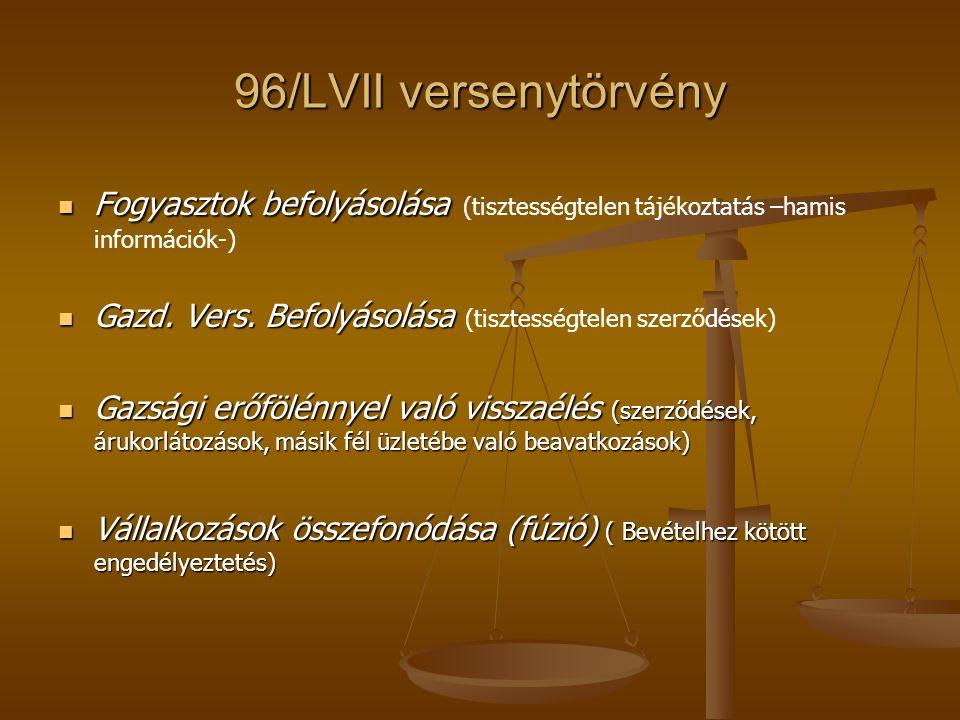 96/LVII versenytörvény Fogyasztok befolyásolása Fogyasztok befolyásolása (tisztességtelen tájékoztatás –hamis információk-) Gazd. Vers. Befolyásolása