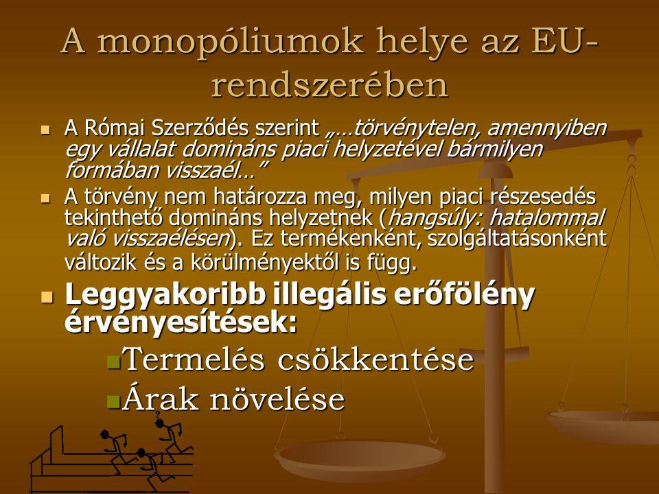 """A monopóliumok helye az EU- rendszerében A Római Szerződés szerint """"…törvénytelen, amennyiben egy vállalat domináns piaci helyzetével bármilyen formáb"""