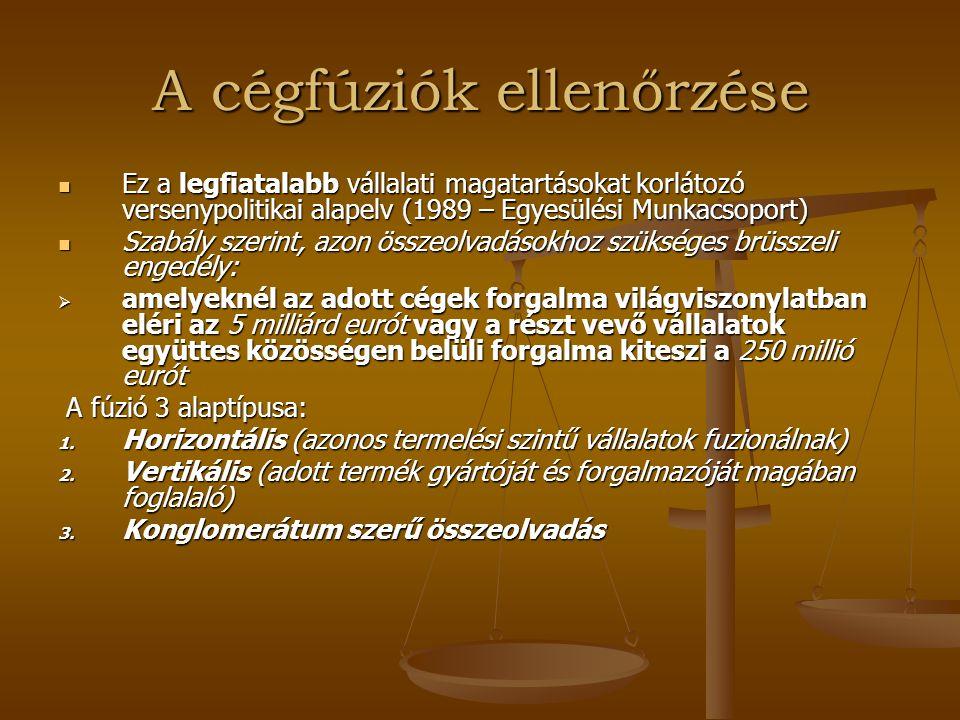 Az állami támogatásokkal foglalkozó politika I.